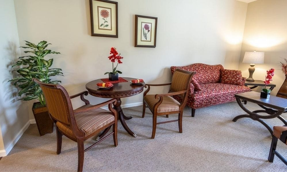 The apartment living room of the Senior Living Community Arbour Square of Harleysville, PA