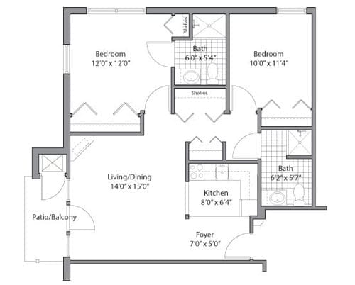 Floor plan of 2 bedroom apartment at the Senior Living Pine Ridge of Garfield in Clinton Township, MI