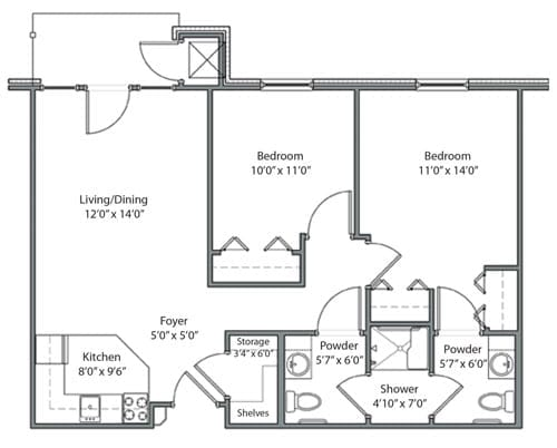 Floor plan of 814 sq ft 2 bedroom apartment at the Senior Living Pine Ridge of Garfield in Clinton Township, MI