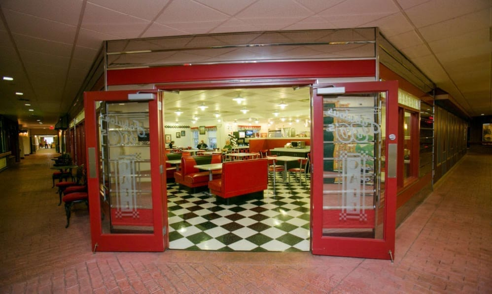 The entrance of the diner at the Senior Living Community Arbour Square of Harleysville, PA