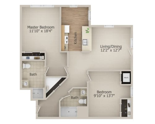 Floor plan of a 949 sq ft 2 bedroom apartment at the Senior Living Community Arbour Square of Harleysville, PA