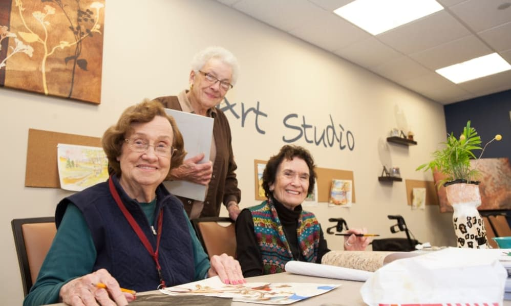 A group of senior ladies at the art studio of the Senior Living Community Arbour Square of Harleysville, PA