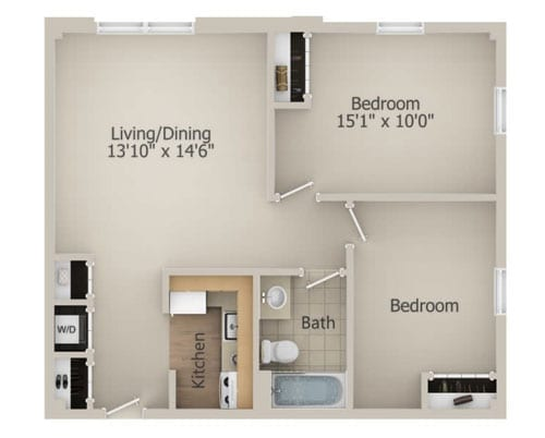 Floor plan of a 737 sq ft 2 bedroom apartment at the Senior Living Community Arbour Square of Harleysville, PA