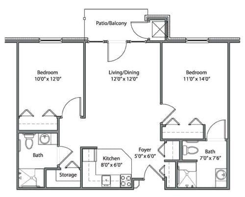 Floor plan of 814 sq ft 2 bedroom apartment with balcony at the Senior Living Pine Ridge of Garfield in Clinton Township, MI