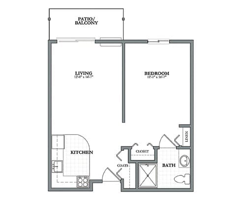 Floor plan of 1 bedroom apartment with balcony at the Senior Living Pine Ridge of Plumbrook in Sterling Heights, MI