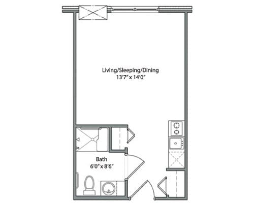 Floor plan of studio apartment at the Senior Living Pine Ridge of Garfield in Clinton Township, MI