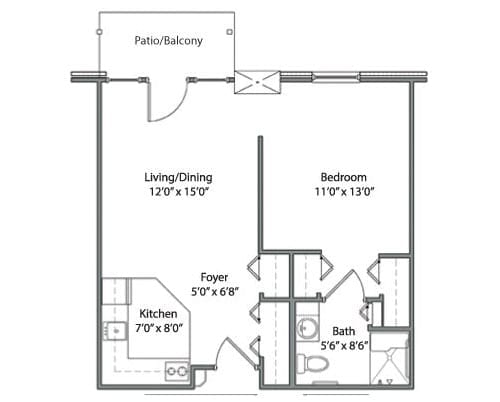 Floor plan of 564 sq ft 1 bedroom apartment with balcony at the Senior Living Pine Ridge of Garfield in Clinton Township, MI
