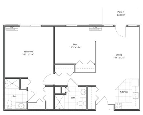 Floor plan of 866 sq ft 1 bedroom apartment with balcony at the Senior Living Pine Ridge of Garfield in Clinton Township, MI