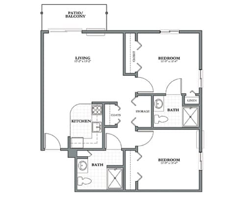 Floor plan of 900 sq ft 2 bedroom apartment with balcony at the Senior Living Pine Ridge of Plumbrook in Sterling Heights, MI