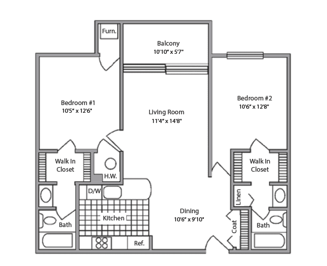 two-bedroom floor plan at Pine Ridge Villas of Shelby in Shelby Township, MI