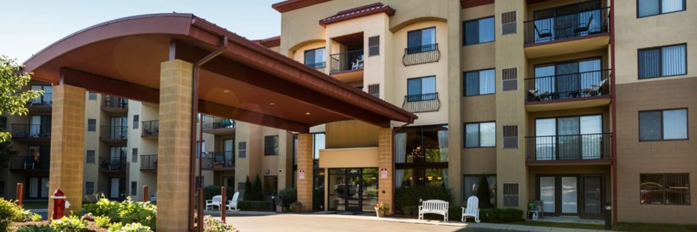 A view of the entrance of the Independent Living Bulding at the Pine Ridge Villas of Shelby in Shelby Township, MI