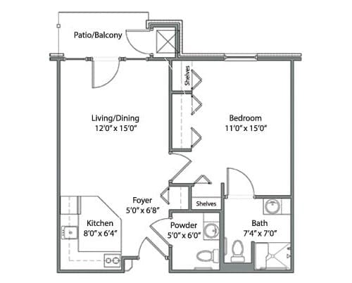 Floor plan of 623 sq ft 1 bedroom apartment with balcony at the Senior Living Pine Ridge of Garfield in Clinton Township, MI