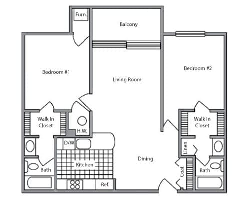 Floor plan of 2 bedroom apartment with balcony at the Senior Living Pine Ridge Villas of Shelby in Shelby Township, MI