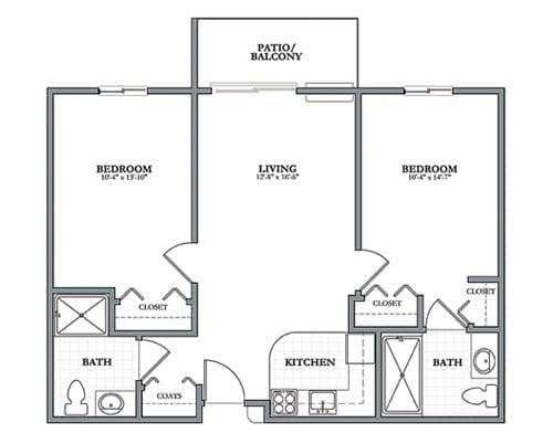 Floor plan of 821 sq ft 2 bedroom apartment with balcony at the Senior Living Pine Ridge of Plumbrook in Sterling Heights, MI