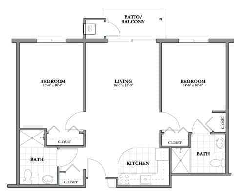 Floor plan of 804 sq ft 2 bedroom apartment with balcony at the Senior Living Pine Ridge of Plumbrook in Sterling Heights, MI