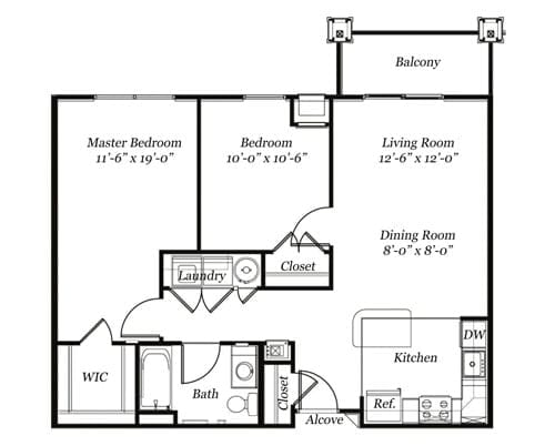 Floor plan of a 874 sq ft 2 bedroom apartment with balcony at the Retirement Community Verena at the Glen, VA