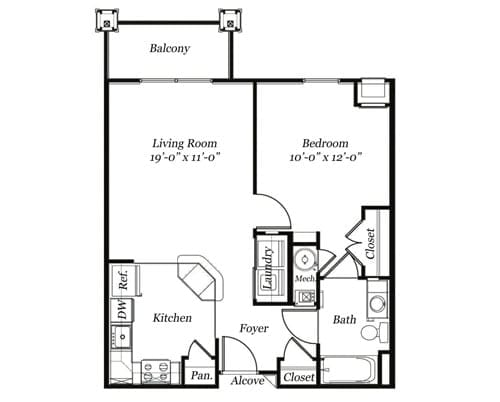 Floor plan of a 664 sq ft 1 bedroom apartment with balcony at the Retirement Community Verena at the Glen, VA