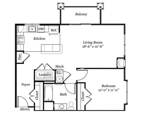 Floor plan of a 808 sq ft 1 bedroom apartment with balcony at the Retirement Community Verena at the Glen, VA