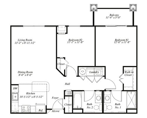 Floor plan of a 951 sq ft 2 bedroom apartment with balcony at the Retirement Community Verena at the Glen, VA
