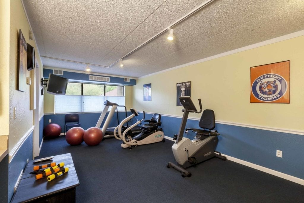 Gym and exercise facilities at the Senior Living Community Pine Ridge Villas of Shelby in Shelby Township, MI