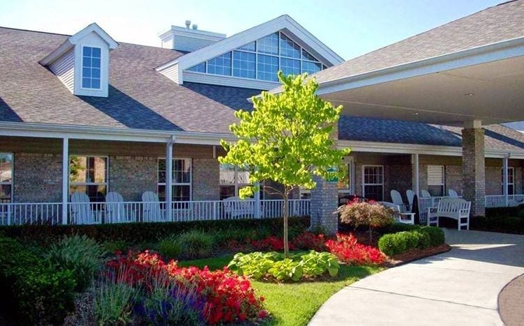 The entrance of the Senior Living Community Pine Ridge of Garfield in Clinton Township, MI
