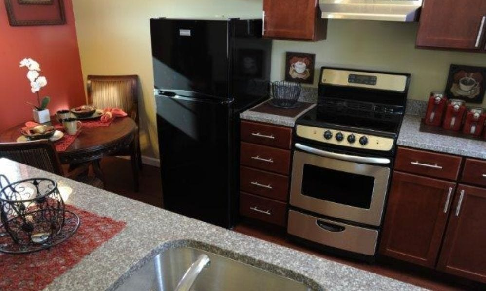 Typical apartment kitchen at the Senior Living Community Arbour Square of Harleysville, PA