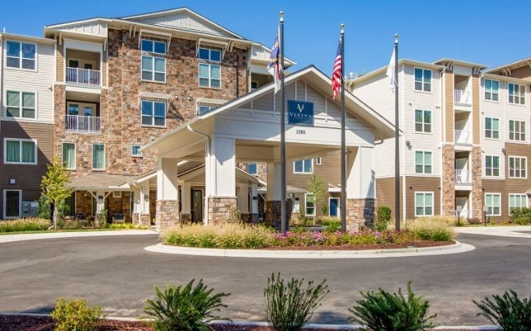 The entrance of the Independent Senior Living building Verena at Bedford Falls in Raleigh, NC