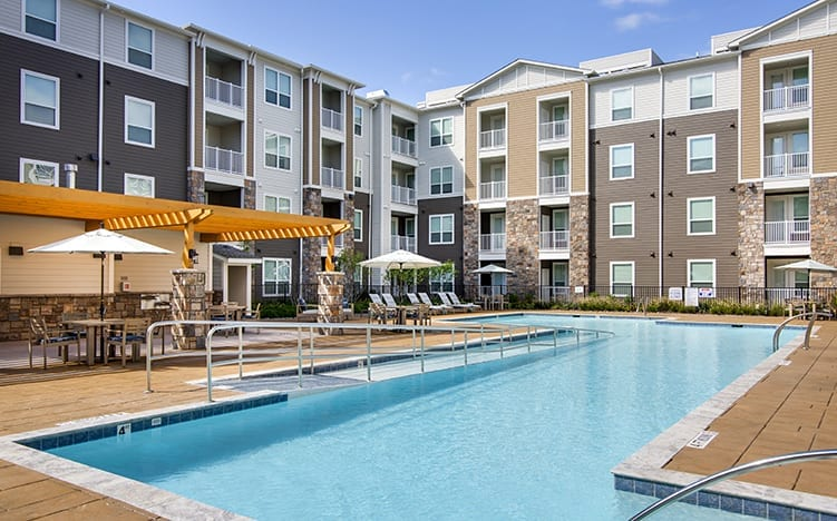 Pool area of the Independent Senior Living Verena at Bedford Falls in Raleigh, NC
