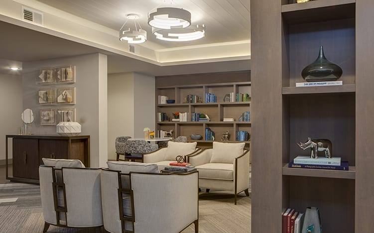 Reading area of the recreation room at the Independent Senior Living Verena at Bedford Falls in Raleigh, NC