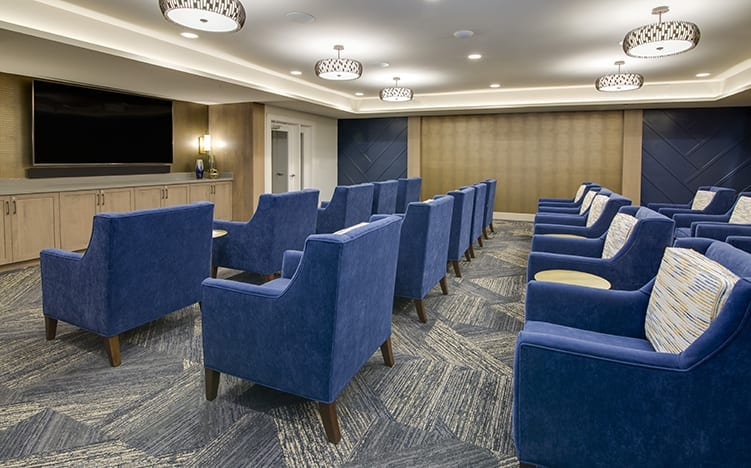 Movie theater of the Independent Senior Living Verena at Bedford Falls in Raleigh, NC
