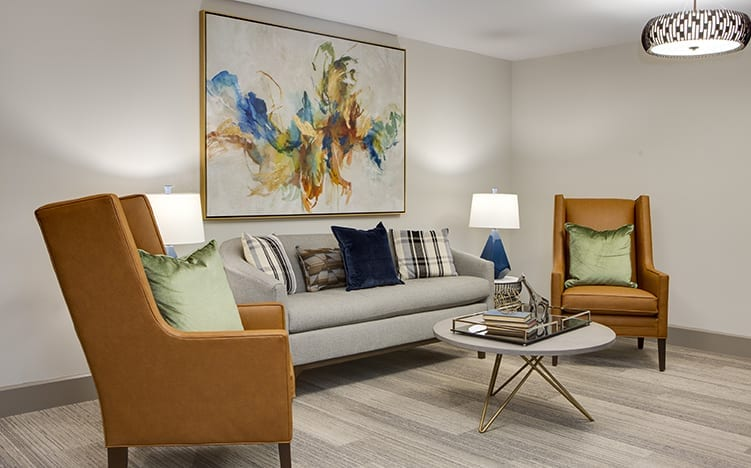 Lounge area of the Independent Senior Living Verena at Bedford Falls in Raleigh, NC