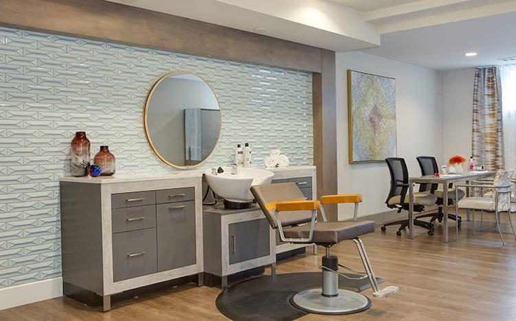 Spa and beauty facilities at the Independent Senior Living Verena at Bedford Falls in Raleigh, NC