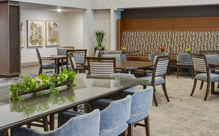 Dining area of the Independent Senior Living Verena at Bedford Falls in Raleigh, NC