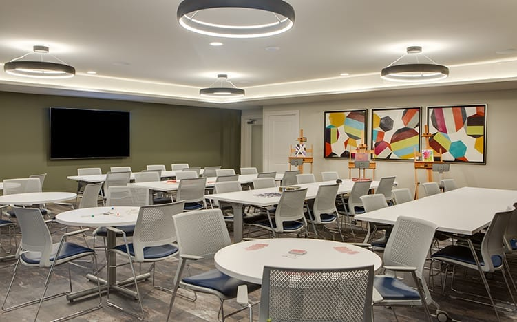 Art and recreation room of the Independent Senior Living Verena at Bedford Falls in Raleigh, NC
