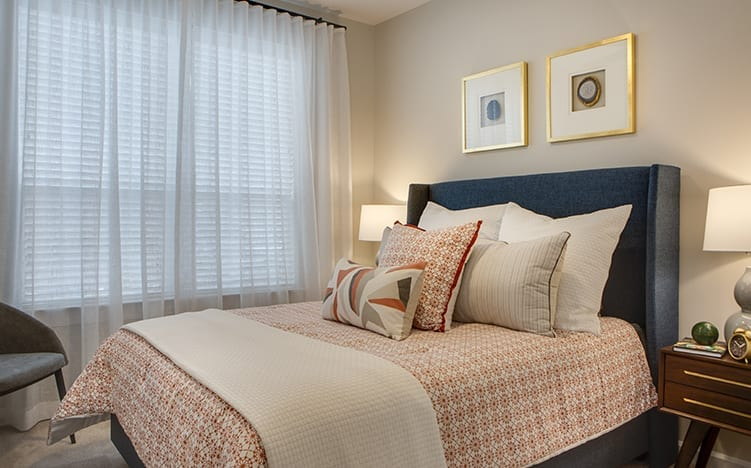 Typical apartment bedroom at the Independent Senior Living Verena at Bedford Falls in Raleigh, NC