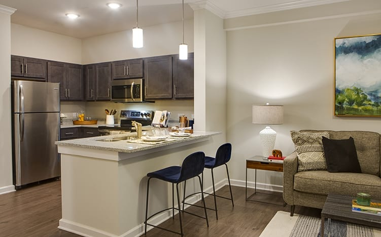 Typical apartment kitchen at the Independent Senior Living Verena at Bedford Falls in Raleigh, NC
