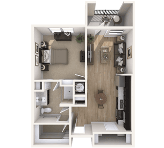 Floor plan of a 667 sq ft 1 bedroom apartment at the Independent Senior Living Verena at Bedford Falls in Raleigh, NC