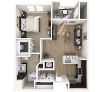Floor plan of a 731 sq ft 1 bedroom apartment at the Independent Senior Living Verena at Bedford Falls in Raleigh, NC