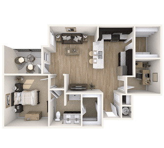 Floor plan of a 967 sq ft 1 bedroom apartment at the Independent Senior Living Verena at Bedford Falls in Raleigh, NC