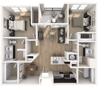 Floor plan of a 1045 sq ft 2 bedroom apartment at the Independent Senior Living Verena at Bedford Falls in Raleigh, NC