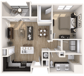 Floor plan of a 868 sq ft 1 bedroom apartment at the Independent Senior Living Verena at Bedford Falls in Raleigh, NC