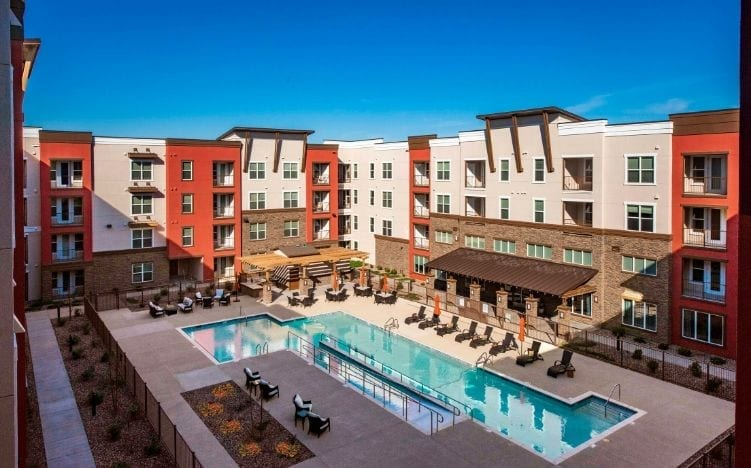 Aerial view of the pool area of the Senior Living Community, Verena at Gilbert, AZ