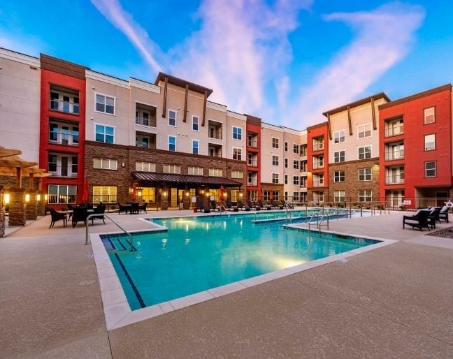 Pool area of the Independent Living Community, Verena at Gilbert, AZ