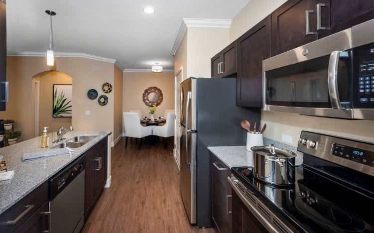 Typical kitchen apartment at the Senior Living Facilities at Verena at Gilbert, AZ