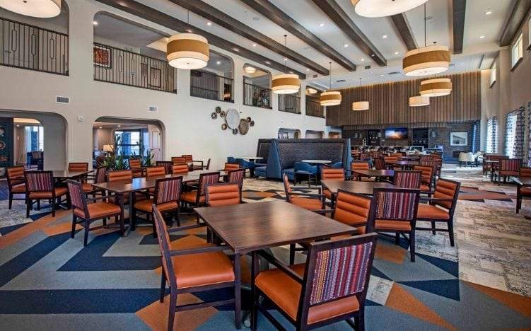 Dining and lounge area of the Senior Living Community at Verena at Gilbert, AZ