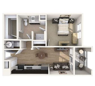 Floor plan of 605 sq ft 1 bedroom apartment at the Senior Living Community Verena at Gilbert, AZ