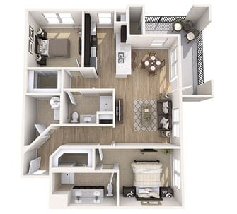 Floor plan of 1130 sq ft 2 bedroom apartment at the Senior Living Community Verena at Gilbert, AZ