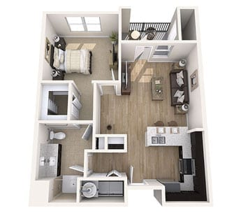 Floor plan of 730 sq ft 1 bedroom apartment at the Senior Living Community Verena at Gilbert, AZ