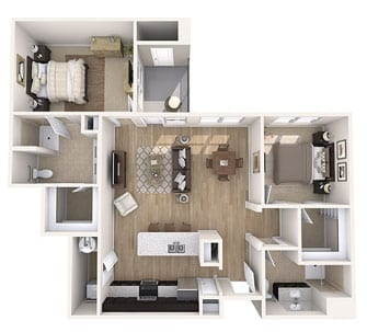 Floor plan of 1250 sq ft 2 bedroom apartment at the Senior Living Community Verena at Gilbert, AZ