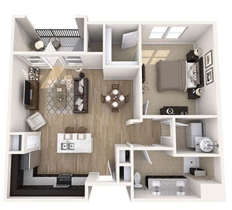 Floor plan of 870 sq ft 1 bedroom apartment at the Senior Living Community Verena at Gilbert, AZ